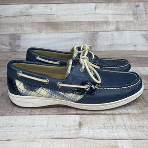 Sperry 9244229 Leather Blue Plaid Boat Shoes 8